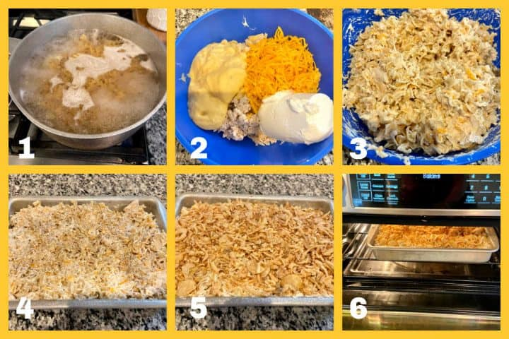 process photos of steps to make chicken noodle casserole