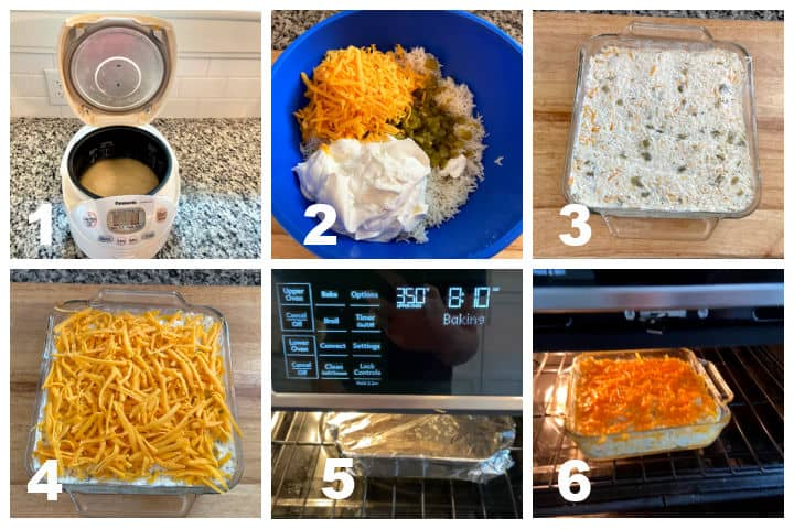 steps to make green green chile rice casserole