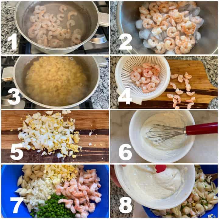 steps to make shrimp pasta salad