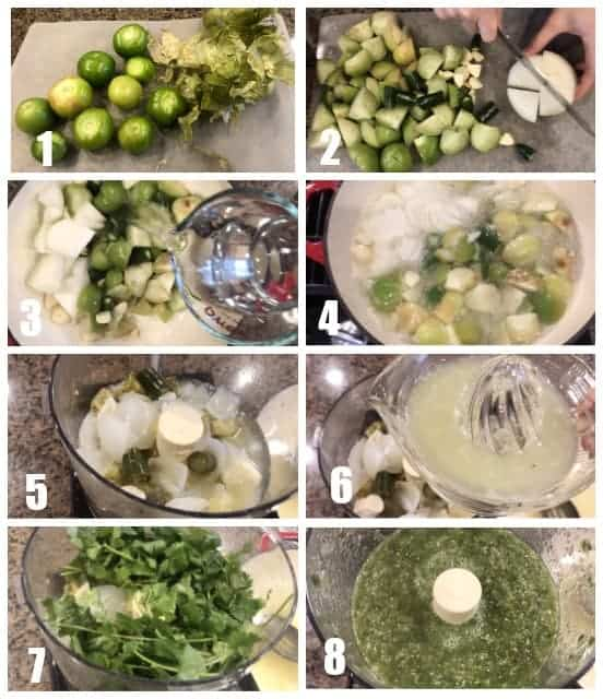 step by step images on how to make tomatillos salsa verde