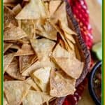 Making homemade baked tortillachips is easy. With just three ingredients, you can have crispy, crunchy, salty, healthy tortilla chips that taste even better than the restaurant chips!