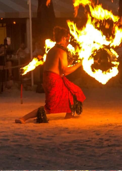 Fire Dancer Dancing at the Sunset Celebration at the Marriott on Marco Island